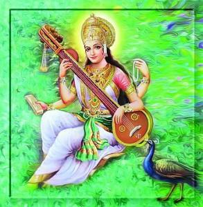 """SARASWATI - die """"Fließende"""" - gilt als die weibliche Kraft des Gottes Brahma, dem Reinen Bewußtsein. Sie wird als Mutter der Veden angesehen. -Foto mit freundlicher Genehmigung allgodwallpapers.com -"""